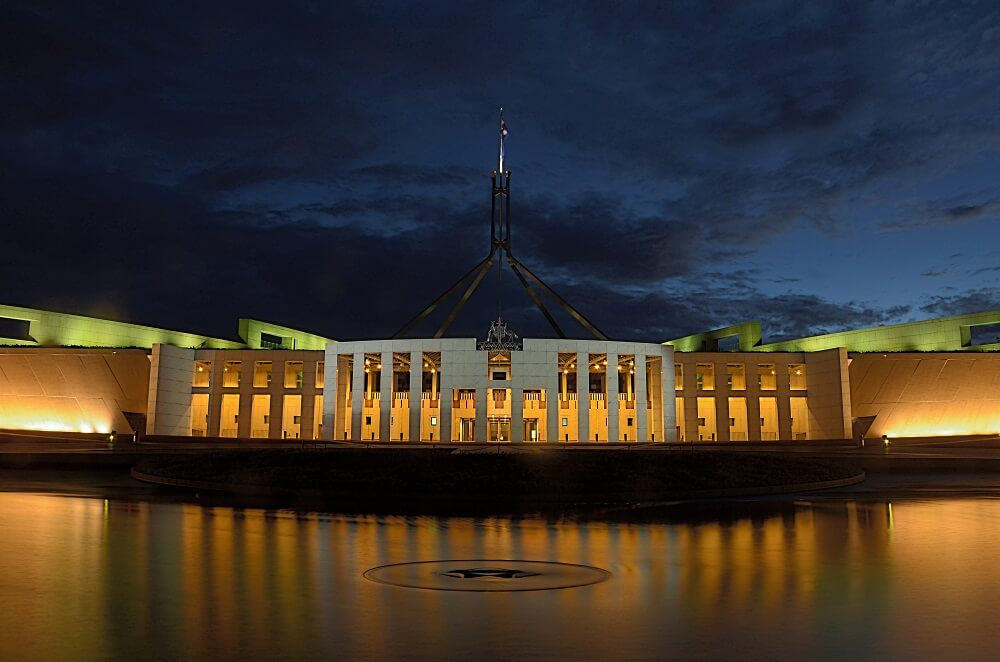 Delivering Federal Budget in Parliament House Australia